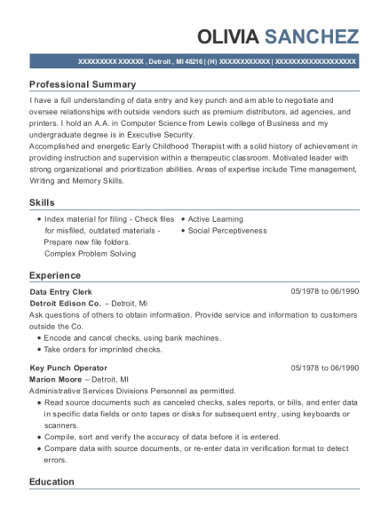 Data Entry Clerk resume example Michigan