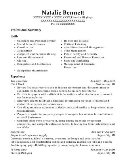 Tax associate resume template Michigan
