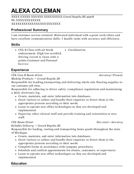 CDL Cass B Route driver resume format Michigan