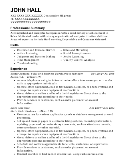 Easter Regional Sales and Business Development Manager resume example Michigan