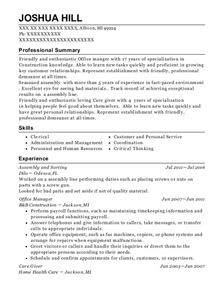 Assembly and Sorting resume format Michigan