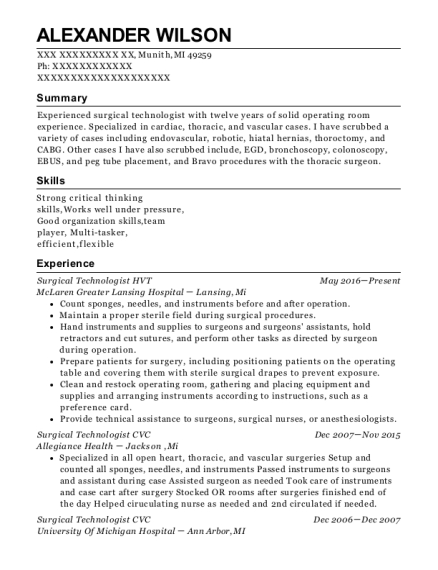 Surgical Technologist HVT resume template Michigan