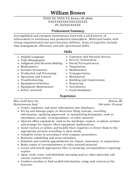 Maintenance lead resume example Michigan