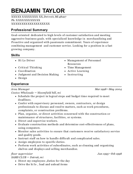 Area Manager resume template Michigan