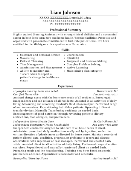 Certified Nurse Aide resume template Michigan