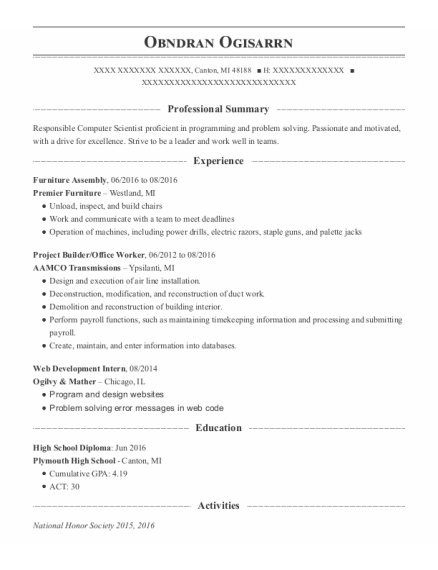 Office Worker resume template Michigan