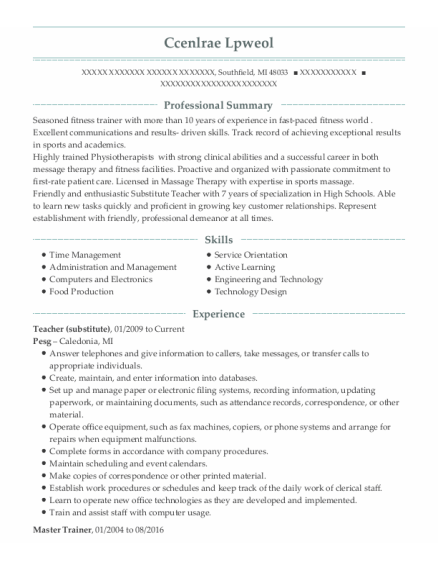 Master Trainer resume example Michigan