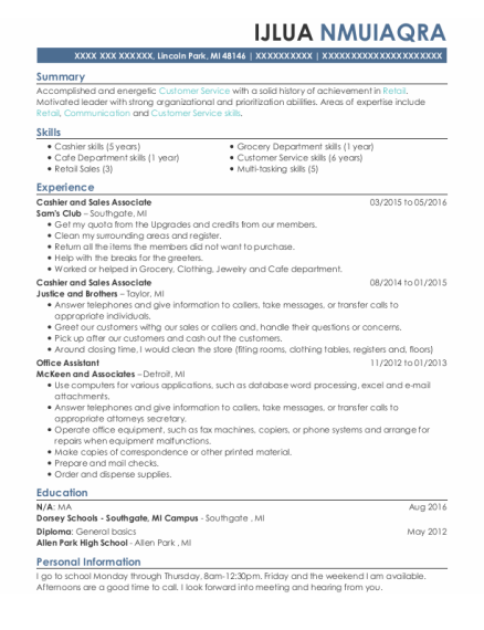 Cashier And Sales Associate resume format Michigan