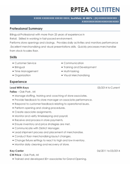 Key Carrier resume template Michigan