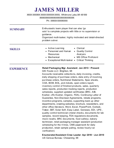 Retail Packaging Mgr Assistant resume example Michigan