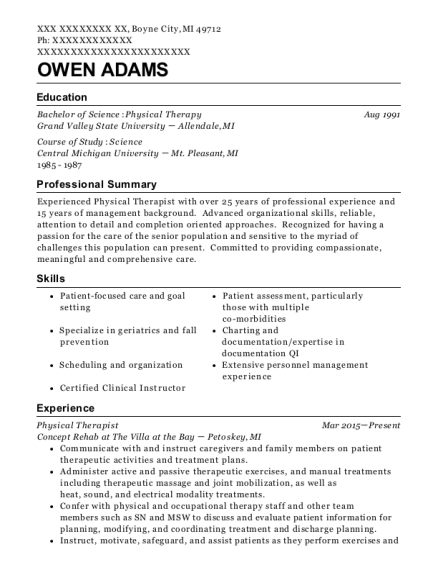 Physical Therapist resume format Michigan