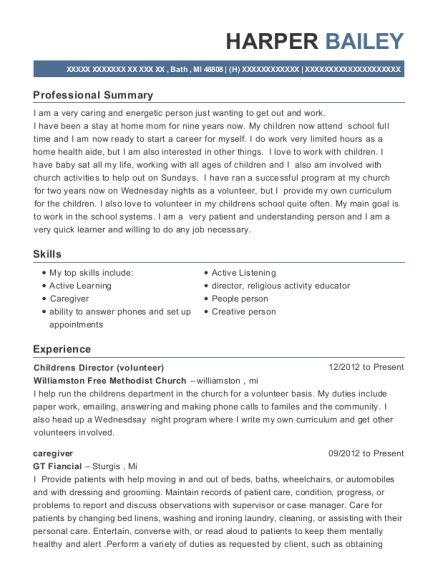 Childrens Director resume example Michigan