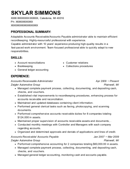 Accounts Receiveable Administrator resume format Michigan