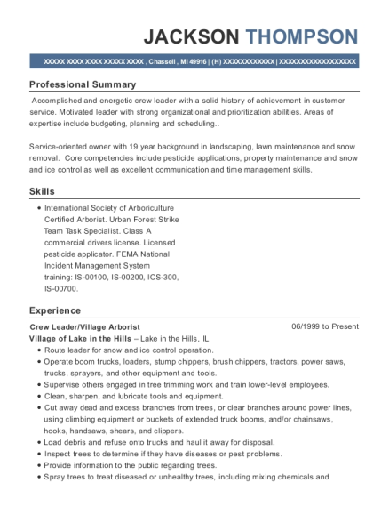 Crew Leader resume sample Michigan