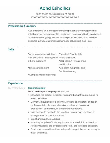 General Manger resume sample Michigan