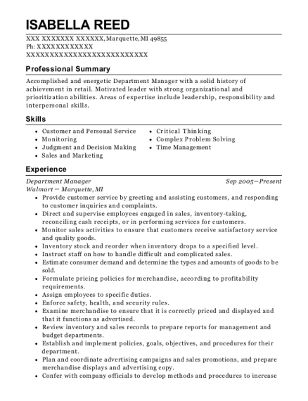 Department Manager resume template Michigan