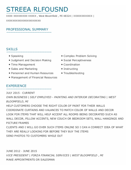 Own Business resume format Michigan