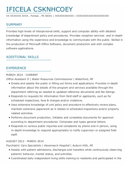 Office Assistant Ii resume sample Michigan