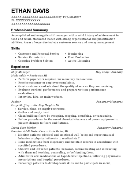 Shift Manager resume example Michigan