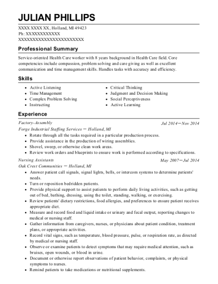 Factory Assembly resume template Michigan