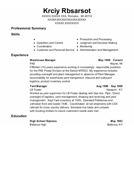 Warehouse Manager resume sample Michigan