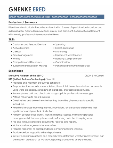 Adminstrative Assistant resume format Michigan