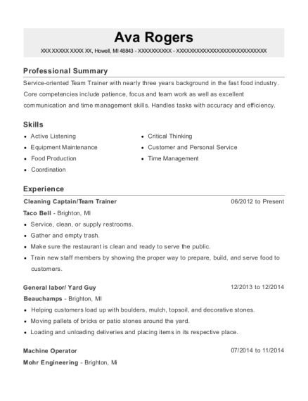 Cleaning Captain resume template Michigan