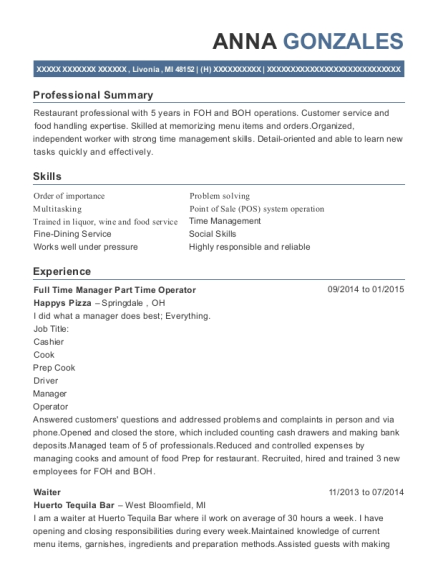 Full Time Manager Part Time Operator resume sample Michigan