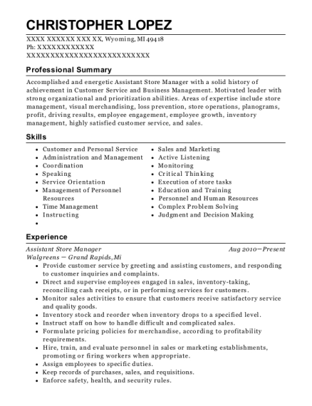 Assistant Store Manager resume template Michigan