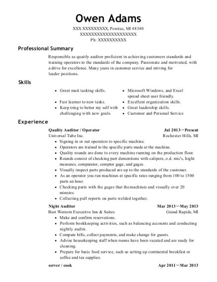 Quality Auditor resume template Michigan