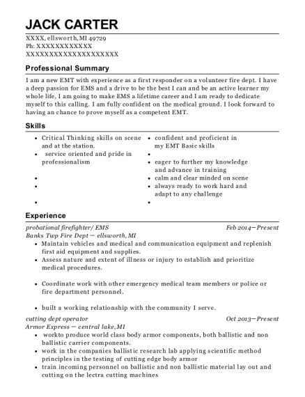 probational firefighter resume template Michigan