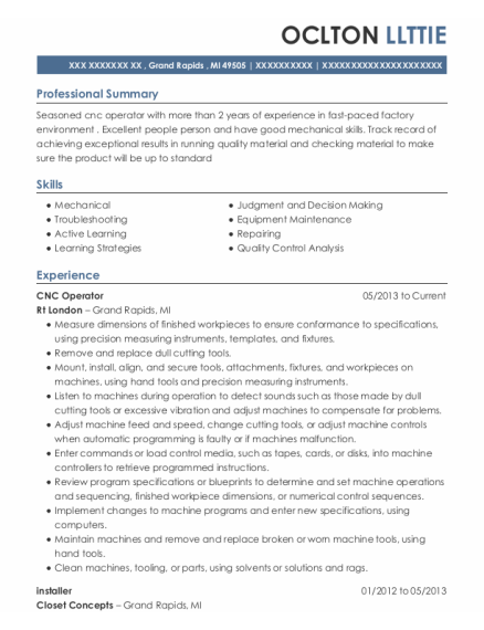CNC Operator resume sample Michigan