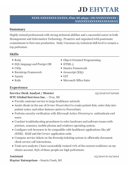 Care Tech Solutions Service Desk Analyst Resume Sample