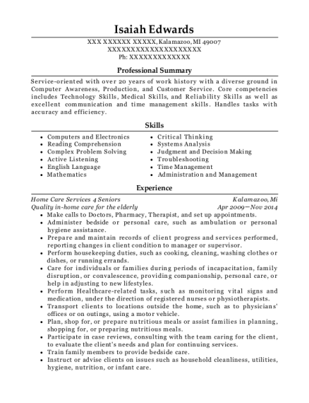Quality in home care for the elderly resume example Michigan
