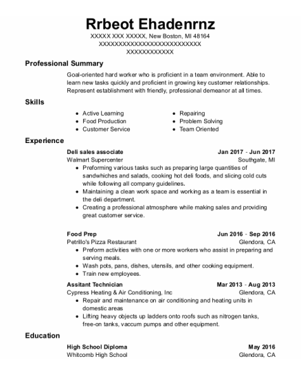 Deli Sales Associate resume format Michigan