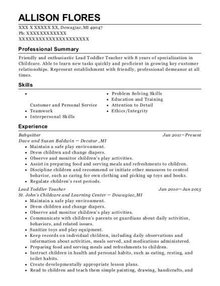 Babysitter resume sample Michigan