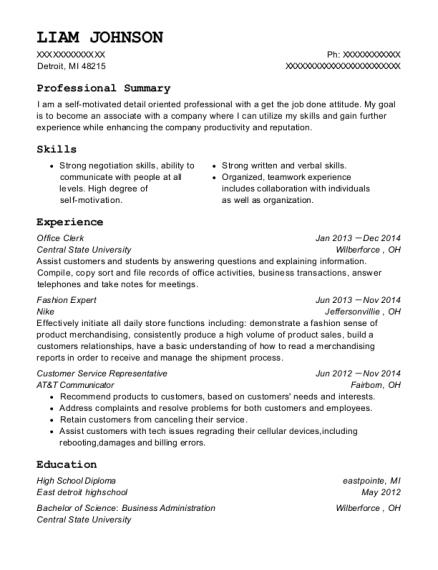 Office Clerk resume sample Michigan