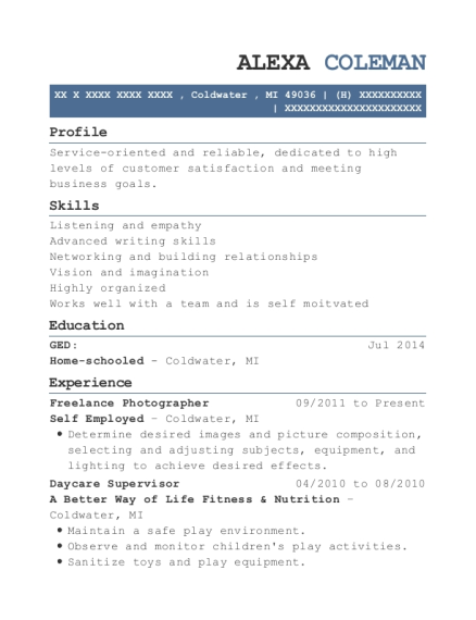 Freelance Photographer resume format Michigan