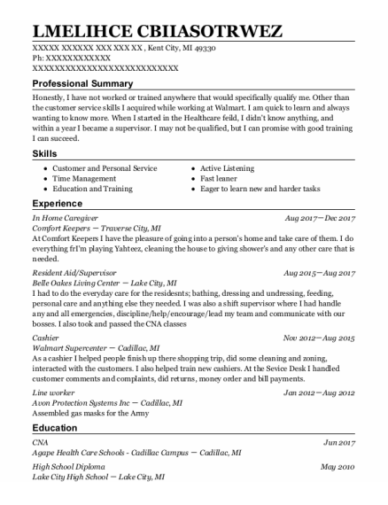 In Home Caregiver resume format Michigan