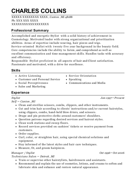 Stylist resume example Michigan