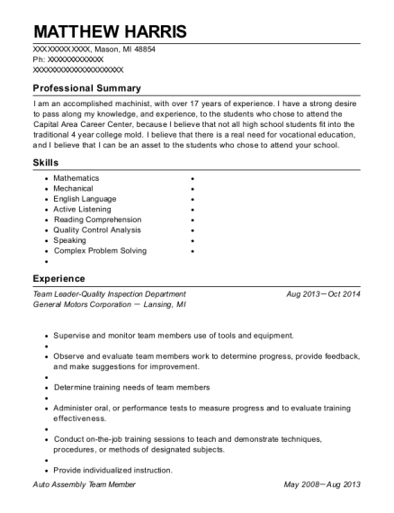Team Leader Quality Inspection Department resume sample Michigan