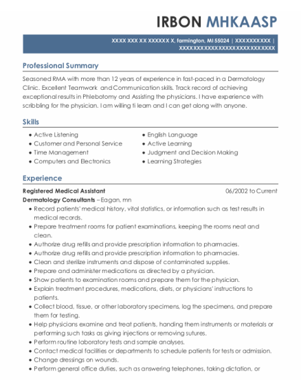 Registered Medical Assistant resume example Michigan