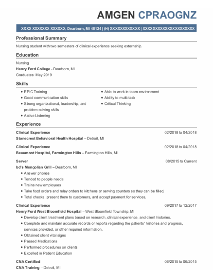 Clinical Experience resume sample Michigan