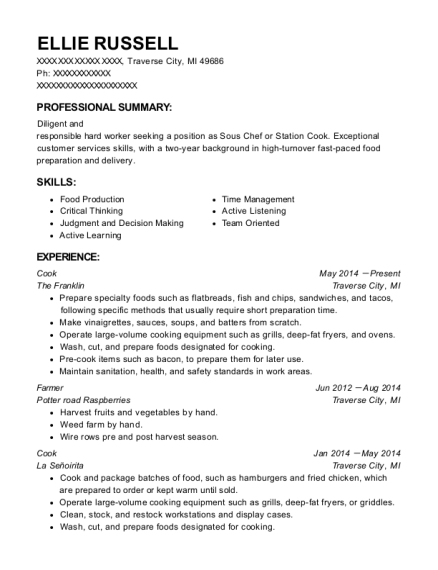 Cook resume template Michigan