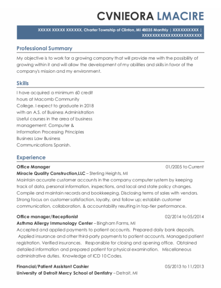Office Manager resume format Michigan