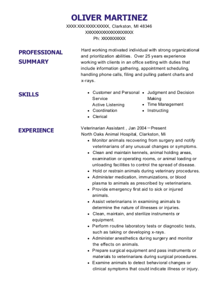 Veterinarian Assistant resume template Michigan