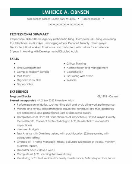 Program Director resume example Michigan