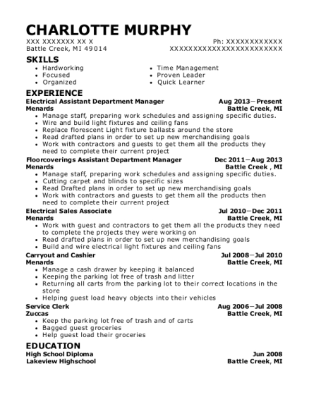 Electrical Assistant Department Manager resume example Michigan