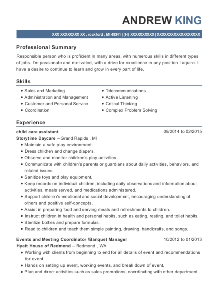 child care assistant resume sample Michigan
