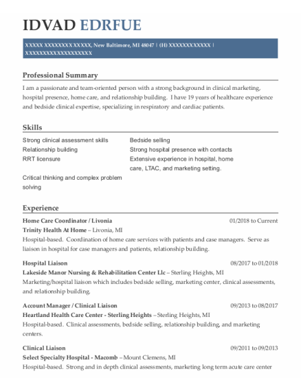 Account Manager resume template Michigan